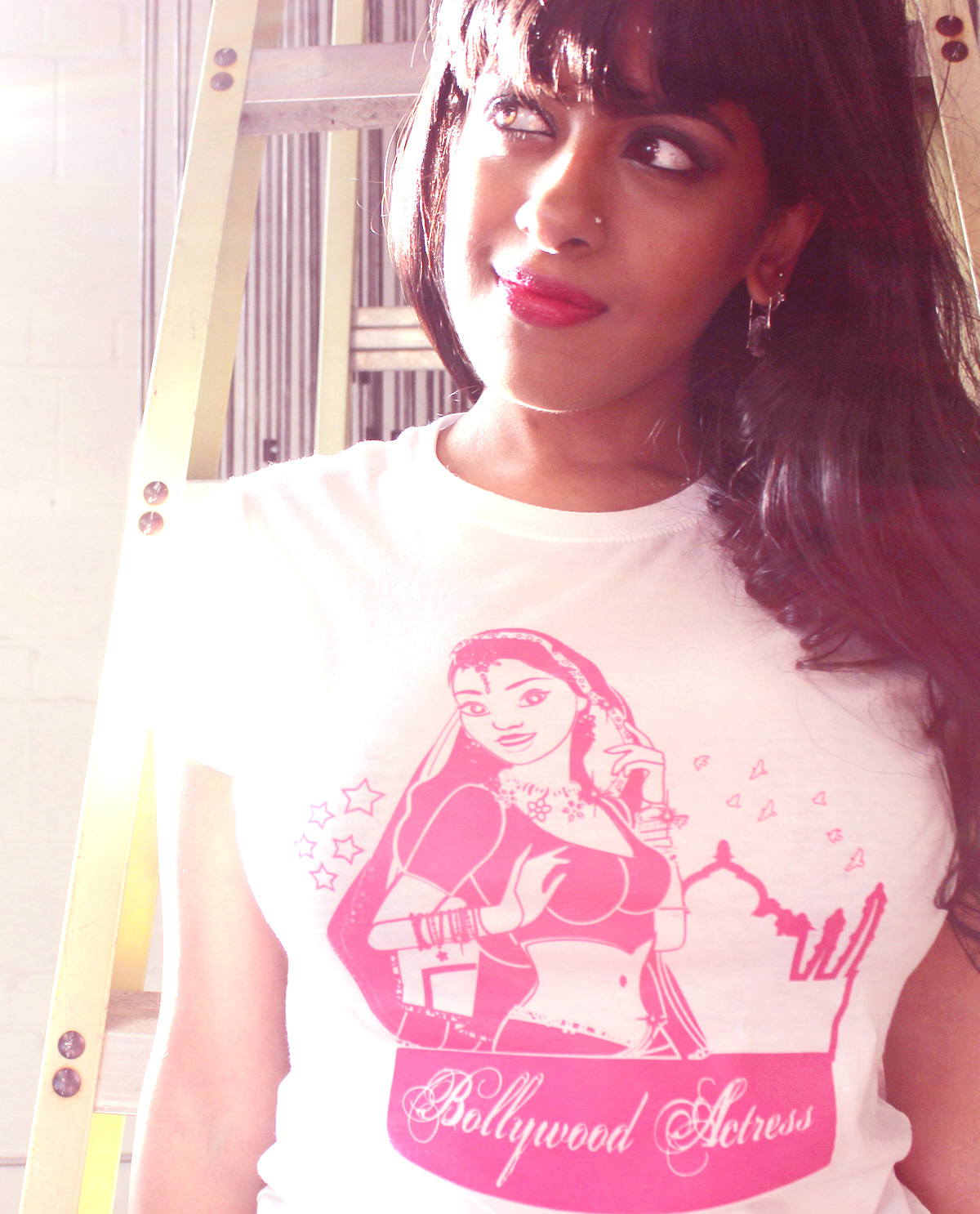 South Asian female model wearing Bollywood Actress South Asian Desi Themed Graphic Design t.shirts by Brown Man Clothing Co.