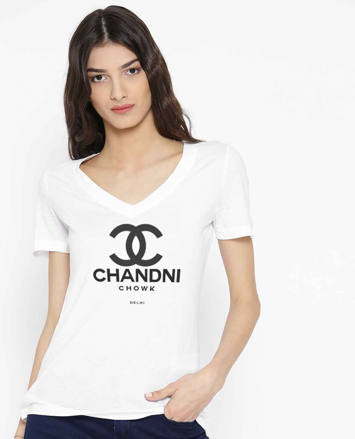 V neck white fitted tshirt worn by south asian female model