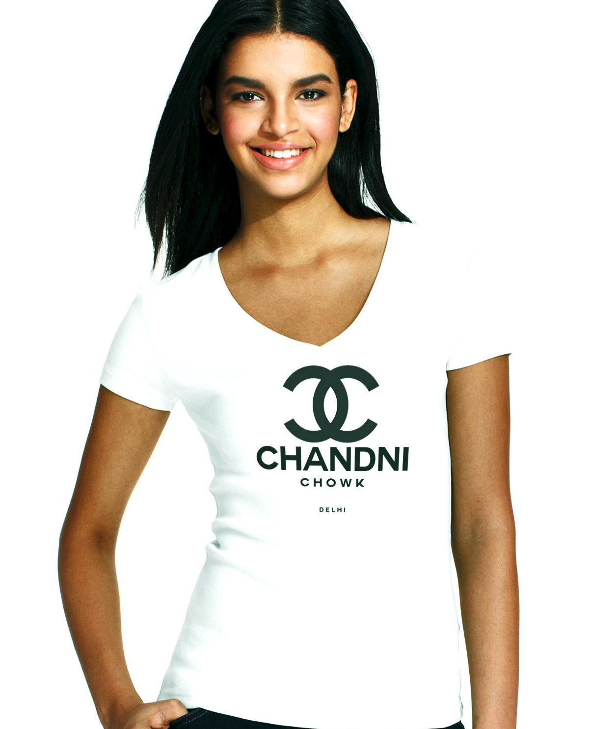 South Asian female model wearing Chandni Chowk White V Neck South Asian Desi Themed Graphic Design t.shirts by Brown Man Clothing Co.
