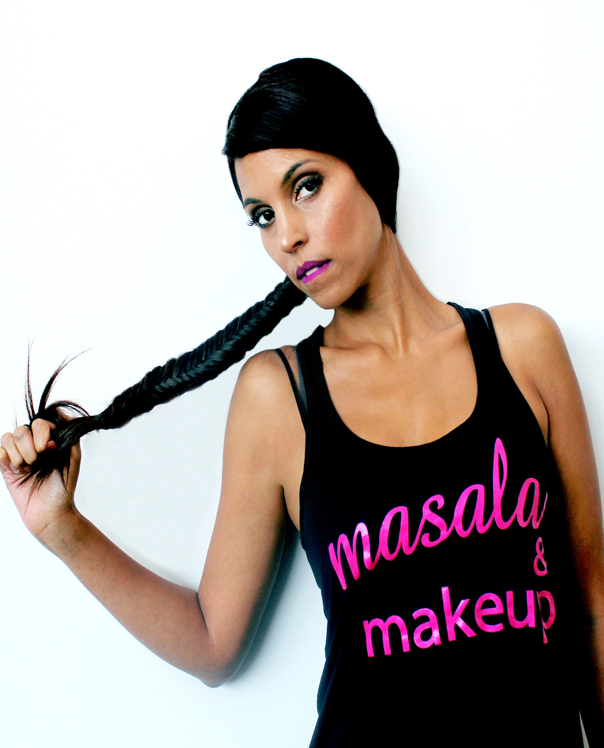 Masala & Makeup Black Racerback tank top.