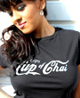 Female model wearing black fitted graphgic design tshirt with Cup of Chai written on the front.