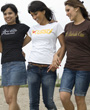 A group of young females walking wearing Brown Man Clothing Co. graphic design t.shirts.