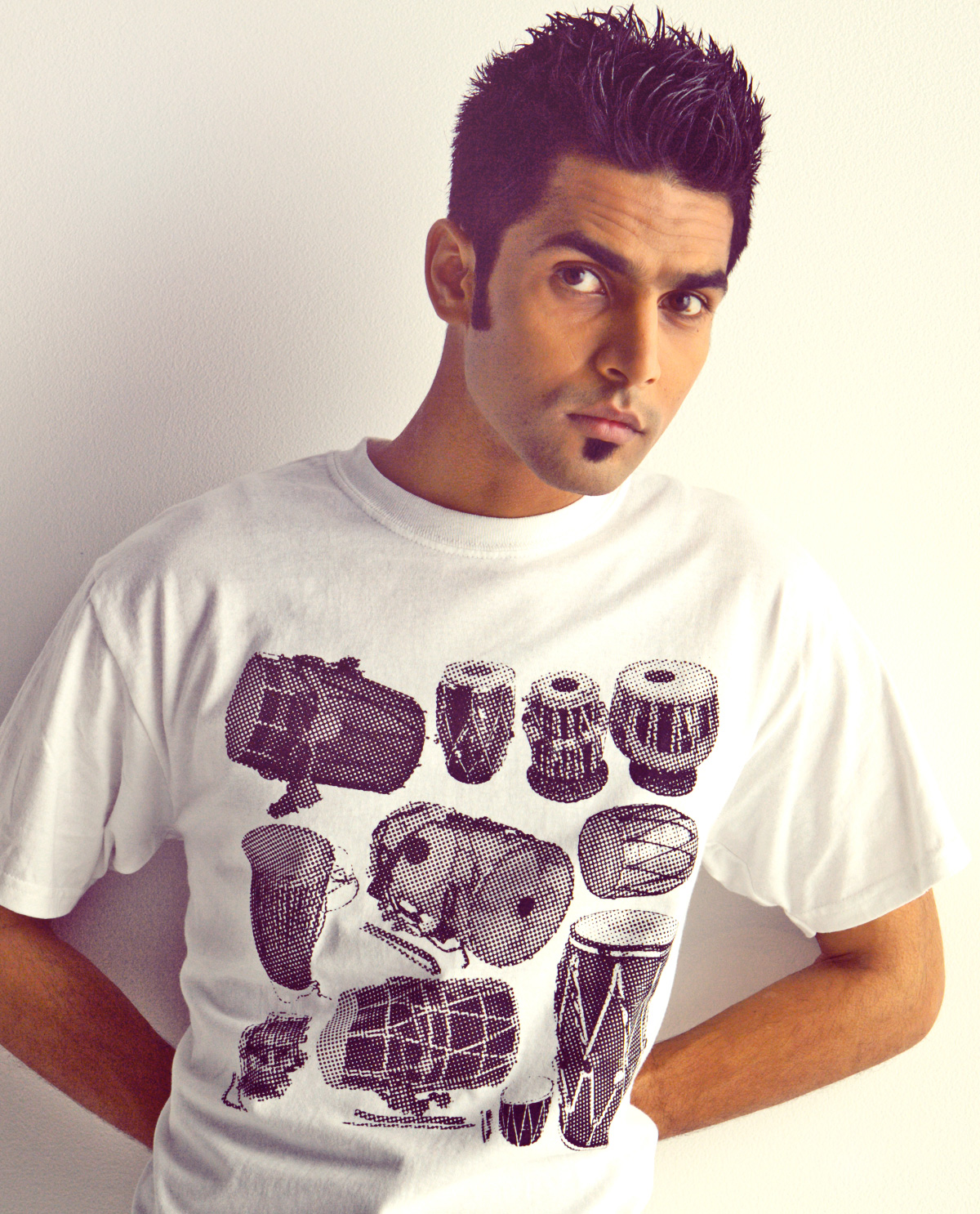 South Asian Male modeal wearing Vintage Dhol halftone ultra cotton t.shirt.